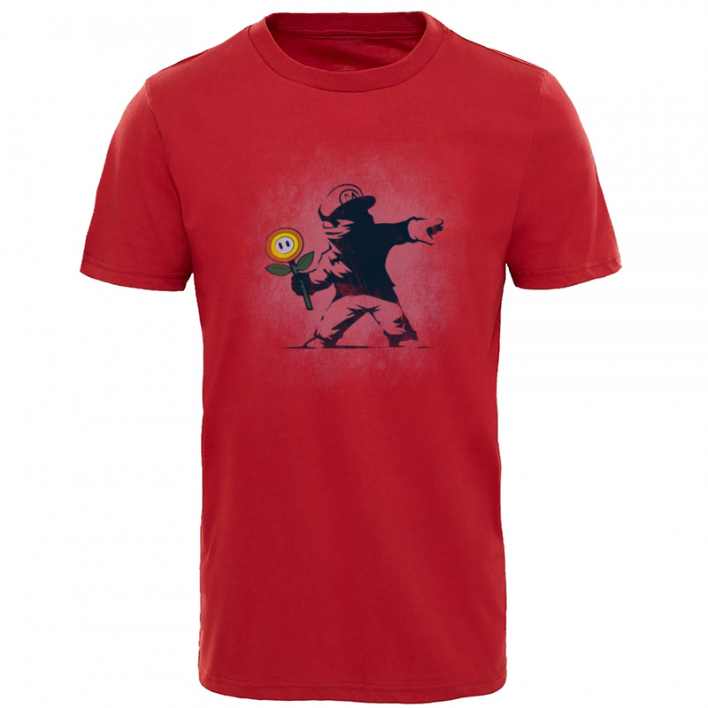 Graffiti_Flower_8179 100% Cotton Tshirts for Men Short Sleeve Tops Shirt Fashionable Summer Autumn Crew Neck T-Shirt Street Graffiti_Flower_8179 red