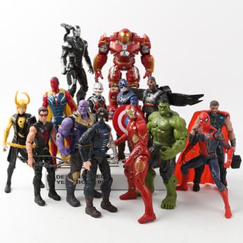 Prezent na boże narodzenie Marvel Avengers 3 nieskończoność wojna figurki zestaw zabawek Hulk kapitan ameryka Spiderman Thanos Iron Man Hulkbuster tanie i dobre opinie Disney Model Unisex 16cm the Avengers 3 Remastered version Dorośli 12-15 lat 5-7 lat 8-11 lat Urządzeń peryferyjnych