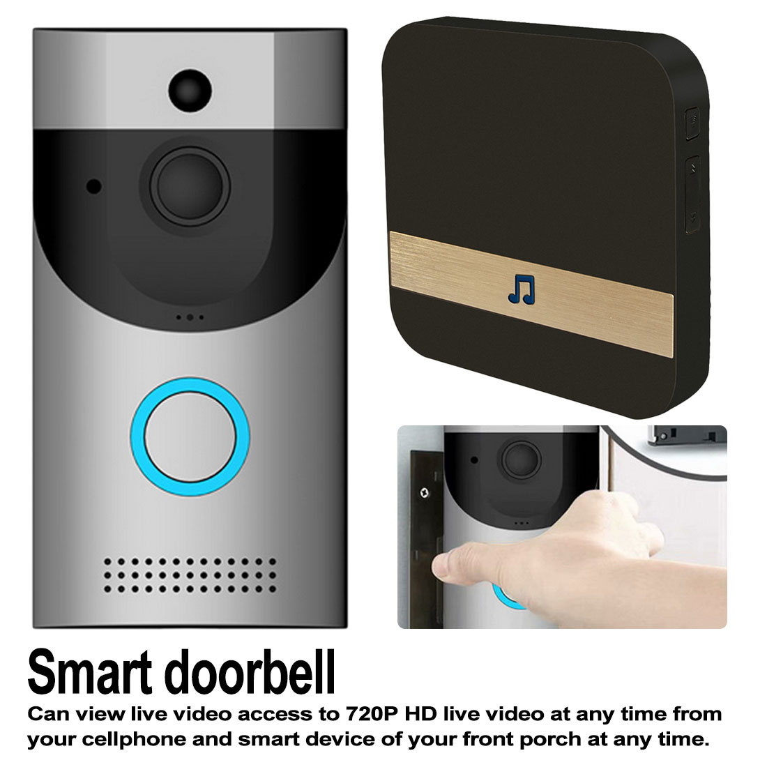 Wireless WIFI Doorbell B30 IP65 Waterproof Smart Video Door Chime 720P Wireless Intercom FIR Alarm IR Night Vision IP Camera