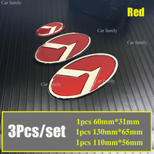 Car Styling 3Pcs/set 130mm*65mm 110mm*56mm 60mm*31mm Red Front/rear Head/Trunk Emblem Steering Wheel Dacal Covers Auto Accessory