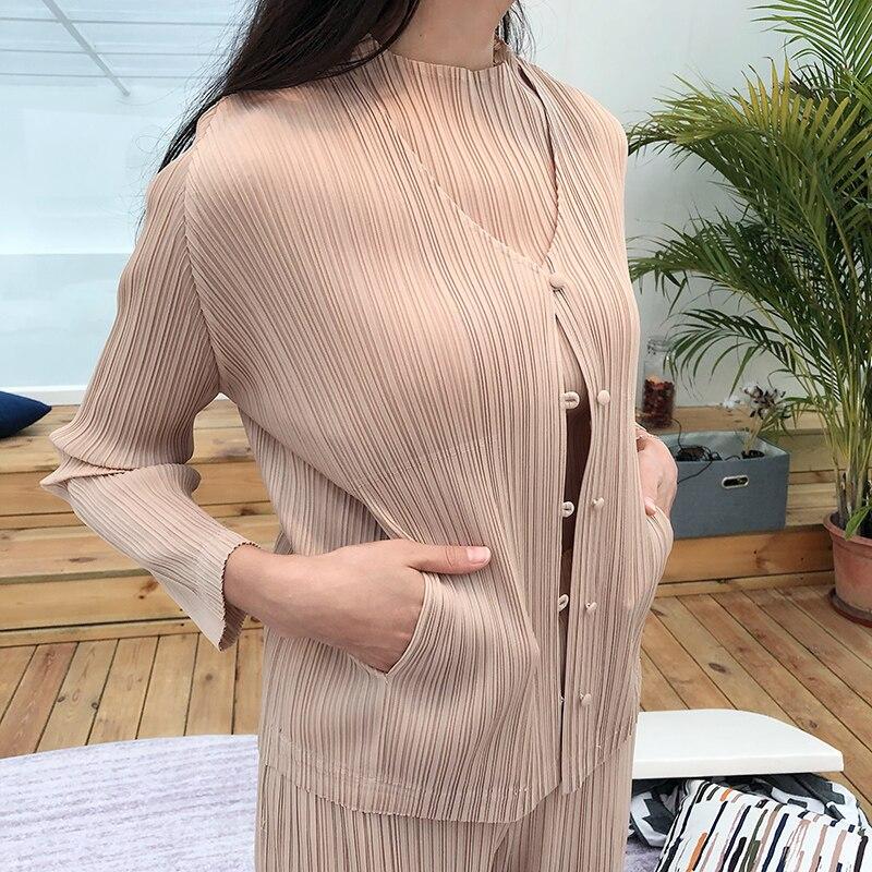 MIYAKE plissado jaqueta curta das mulheres do outono new long sleeved cardigan casaco plissado frete grátis - 4