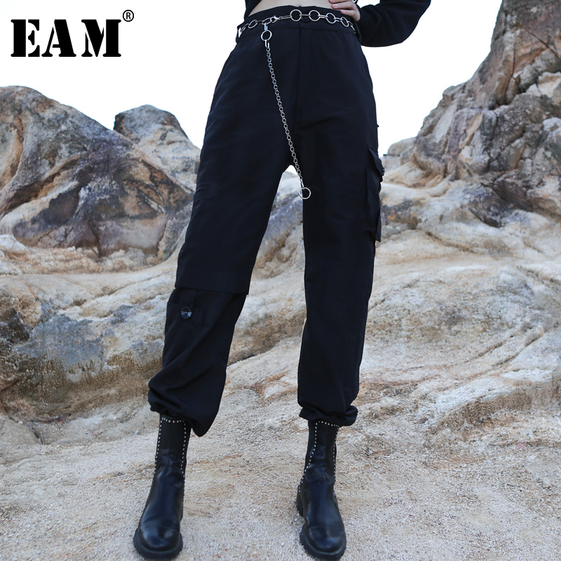 [EAM] High Elastic Waist Pocket Trousers New Loose Fit Cargo Pants Women Fashion Tide All-match Spring Autumn 2020 1A952