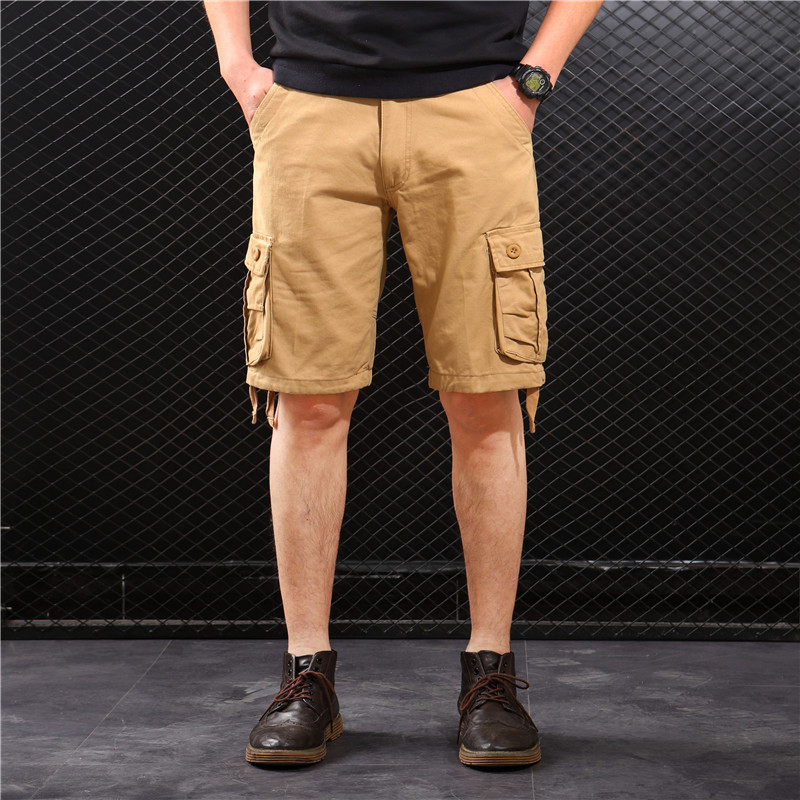 Bib Overall Men's Loose-Fit Multi-pockets Casual Large Size Fifth Pants MEN'S Shorts Summer Beach Shorts