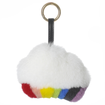 Rex rabbit fur rainbow and small clouds super beautiful pendant cute rainbow and clouds doll pendant furry bag pendant key chain rex rabbit fur caterpillar doll pendant furry car key chain doll pendant with glasses fashionable and cute bag pendant