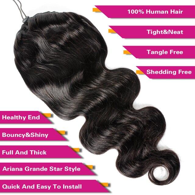 Объемные волнистые шнурки конский хвост человеческие волосы для наращивания бразильские клипсы для женщин Remy Aliballad конский хвост