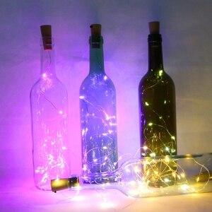 Image 5 - ขวดไวน์LEDไฟ2M 20LEDs Cork ShapeทองแดงลวดสีสันMini Stringสำหรับกลางแจ้งในร่มงานแต่งงานคริสต์มาสไฟ