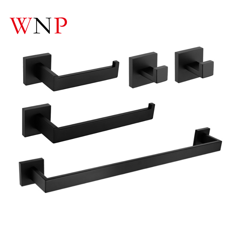 WNP Stainless Steel Bathroom Hardware Sets Towel Holder Paper Holder Hooks Single Rod Towel Rack Sets bathroom accessories sets