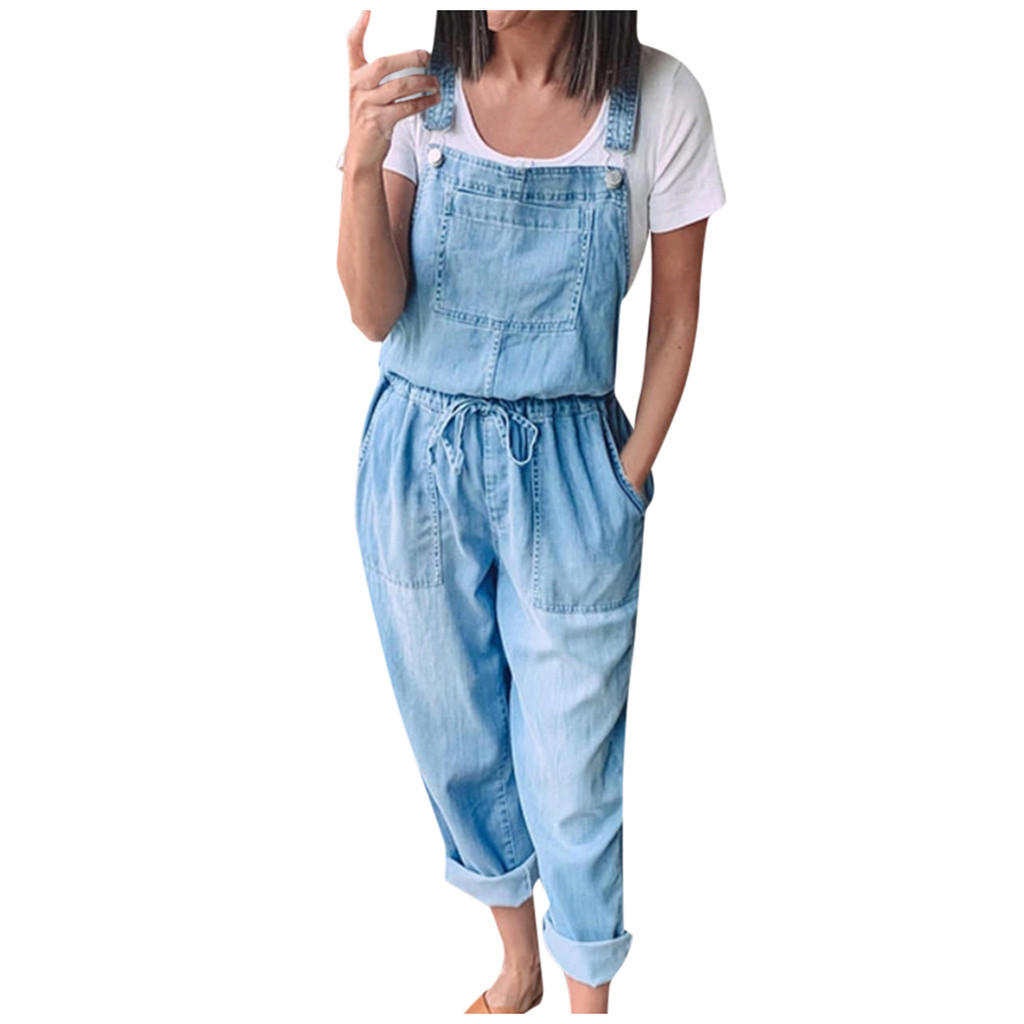 New Fashion Denim Jumpsuits Women Casual Jumpsuit Drawstring Overalls Female Summer Loose Rompers Overalls for women 2020 T1G