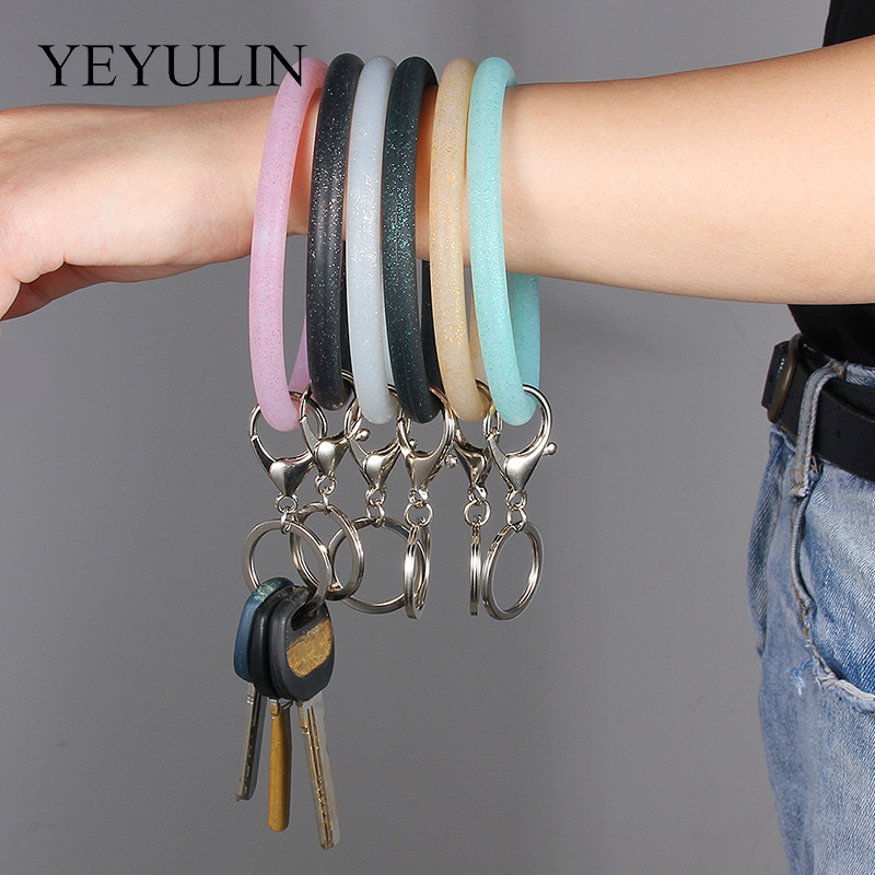 6Colors Silicone O Bracelet KeyChain Circle Wristlet Keychains Women Girl  Keyring Wrist Strap For Women Girls