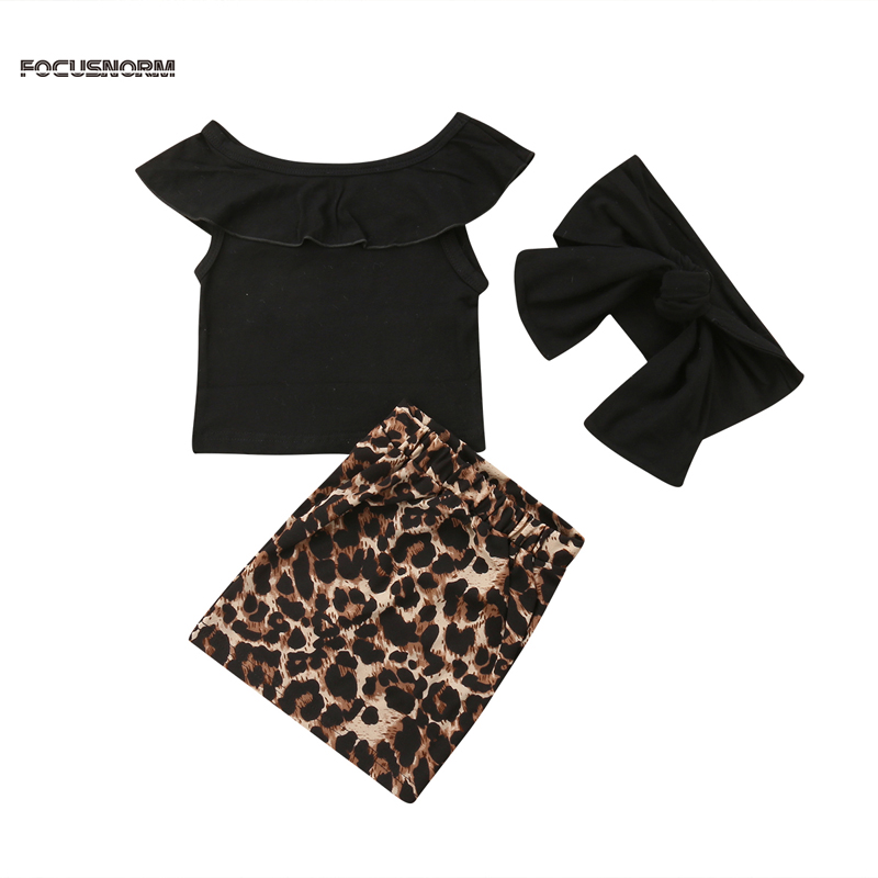 Pudcoco US Stock New Fashion Kids Baby Girl Casual Clothes Off Shoulder T-shirt Tops Leopard Skirt Outfits