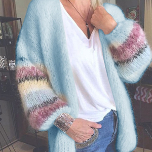 Mohair Cardigan Womens Sweaters Candy Color Sweater Knit Cardigan Coat Autumn Winter Striped Long Lantern Sleeve Soft Sweater