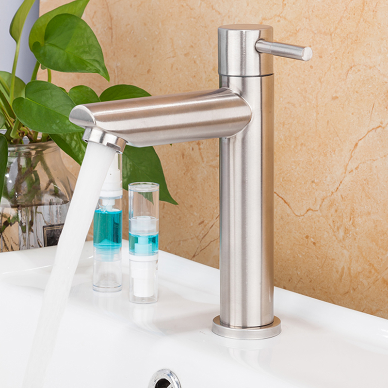 Basin Faucet Basin Sink Faucet Tap Bathroom Stainless Steel Single-Cooled Tap Corrosion Resistant Hardware Single Hole