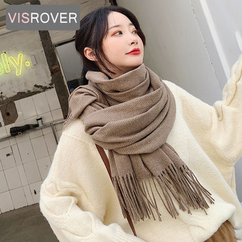 VISROVER new woman winter scarf fashion female shawls cashmere handfeeling wraps solid color hijab wholesale - discount item  49% OFF Scarves & Wraps