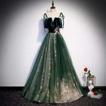 Green Elegant Velvet Spaghetti Strap Mesh Dress Qipao Super Bling Sequins Evening Party Gown Full Length Lady Robe De Soiree
