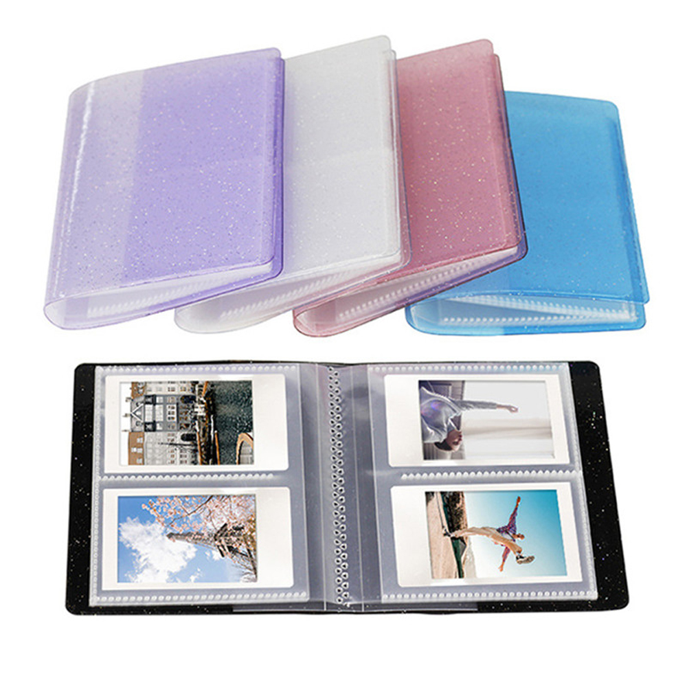 64 Capacity Cards Mini Holder Binders Albums With Bling Clear Cover For 6*9cm Board Games Card Multifunction Sleeve Holder 64 C