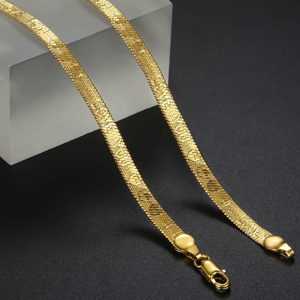 Davieslee 5mm colar para homens mulher corrente cobra espinha de peixe colares de ouro enchido eu amo você padrão de moda jóias dgn468
