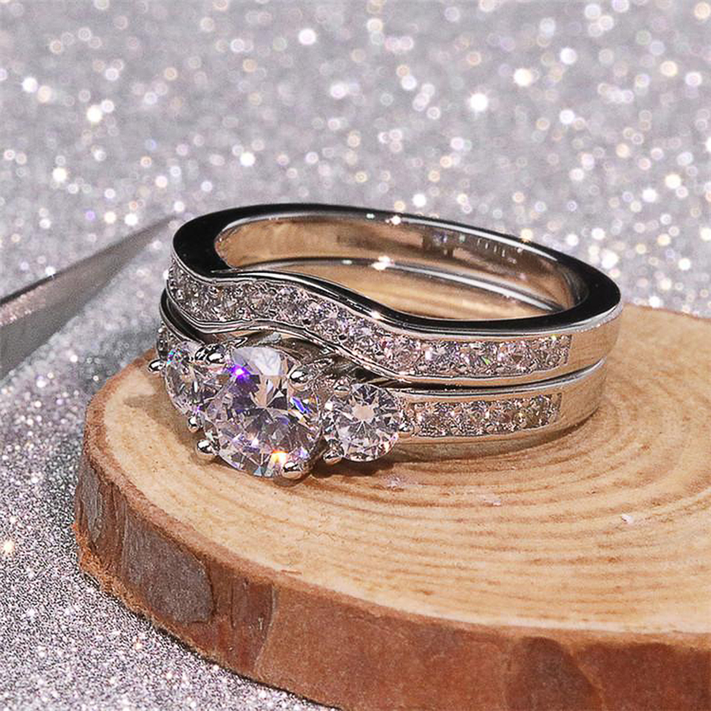 Huitan New Trendy 2Pcs Set Rings Female Wedding Engagement Bands Jewelry Fancy Party Accessories Love Gift Luxury Ring for Women