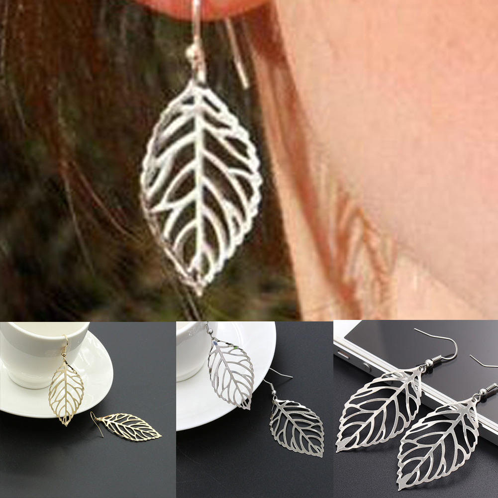 2019 Hot Hollow Metal Leaves Dangling Long Statement Drop Earrings For Women Ladies Jewelry Fashion Wedding Party Gift