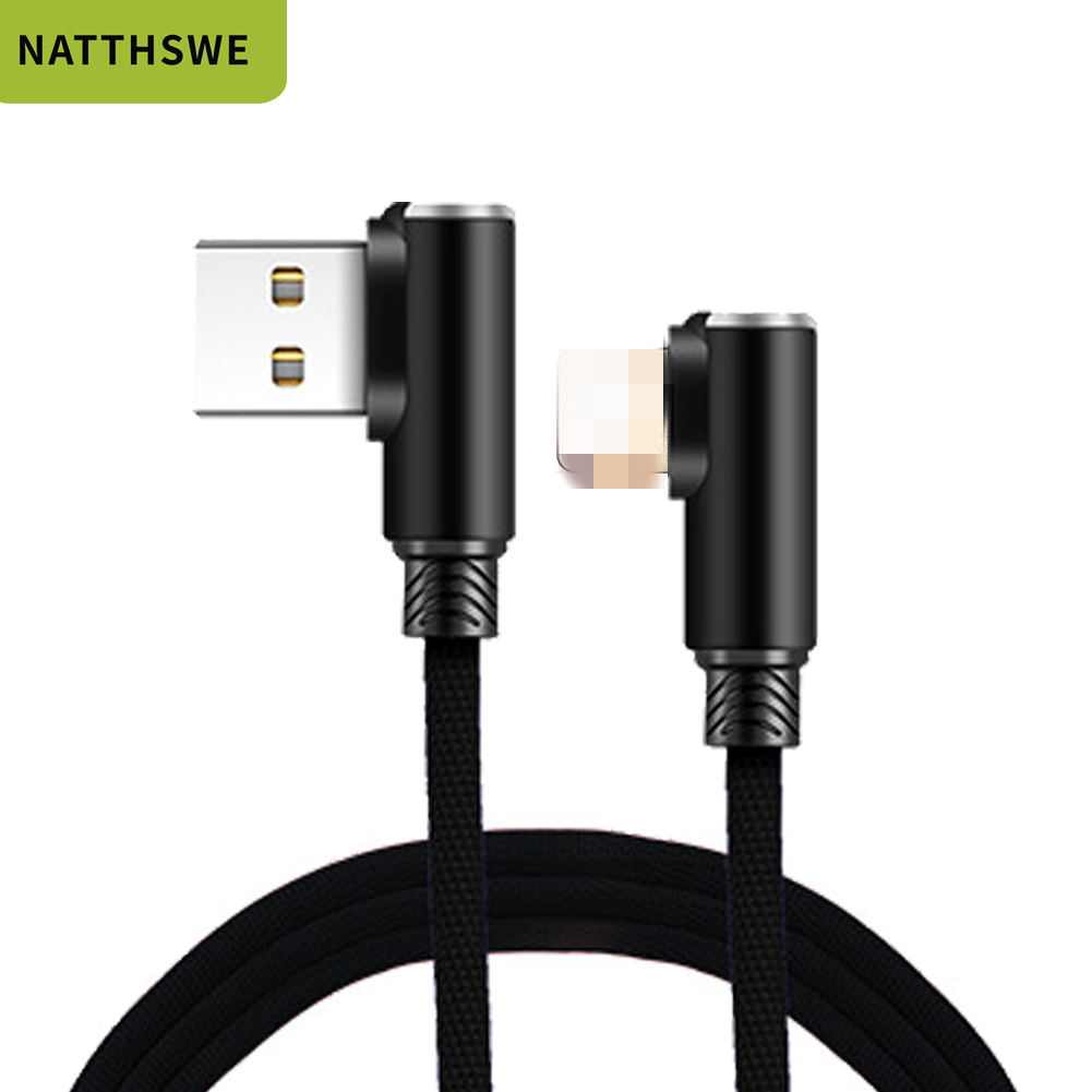 NATTHSWE For <font><b>iphone</b></font> charger USB Cable Fast Charging 90 Degree usb cord <font><b>cabel</b></font> For <font><b>iphone</b></font> Xr Xs Max 8 7s 6 plus <font><b>6s</b></font> 5 ipad cable image