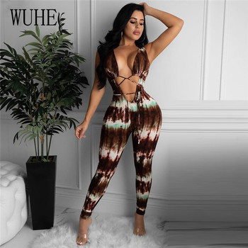WUHE Sexy Deep V Neck Hollow Out Skinny Jumpsuit Tie Dye Print Lace Up Open Front Bandage Night Party Club Bodysuit Overalls цена 2017