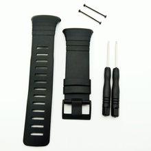 Novo! Relógios homem para suunto core 100% ajuste pulseira original padrão todo preto relógio banda/cinta + fecho parafuso ferramenta