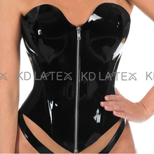 Corsets Bustiers Latex Top-Clothing Lacing Cups-Shape Sexy Black with Rubber CY-0028
