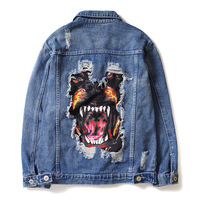 seestern men's hip hop streetwear denim jeans jackets 2019 spring funny dog patch design broken hole coats fashion outwear top