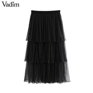Image 2 - Vadim 여성 세련된 블랙 메쉬 스커트 다층 프릴 탄성 허리 여성 중반 송아지 캐주얼 세련된 스커트 ba800