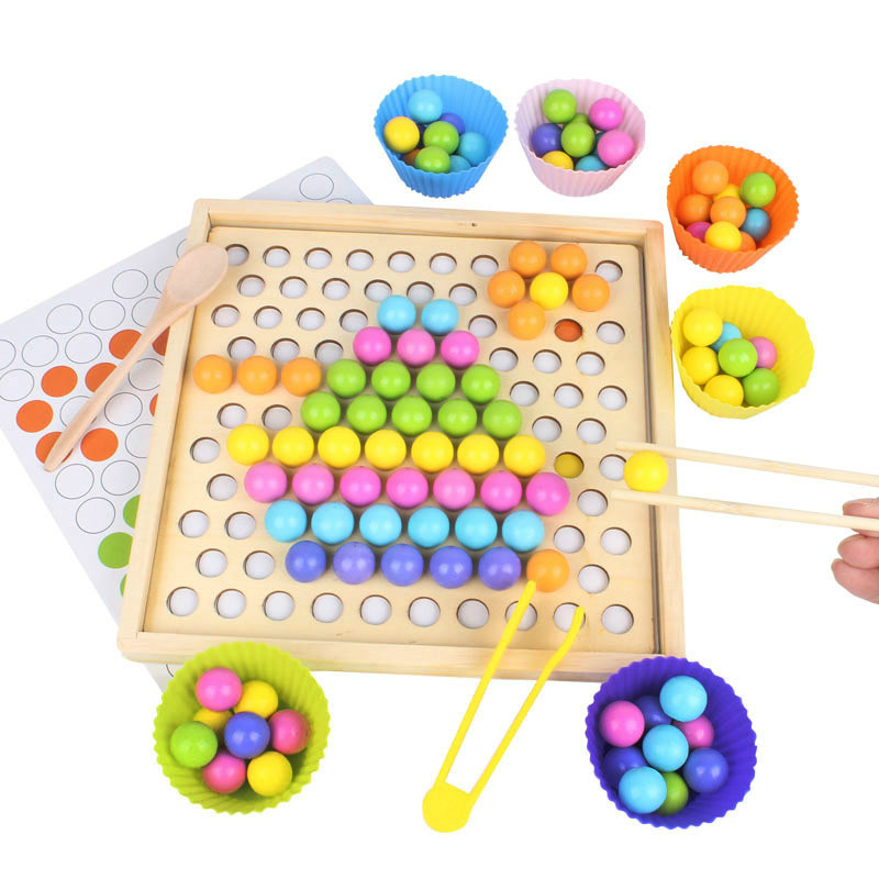 Puzzles en bois deux-en-un mémoire échecs Clip perles jeu logique pensée formation en bois petite enfance mémoire formation jouet