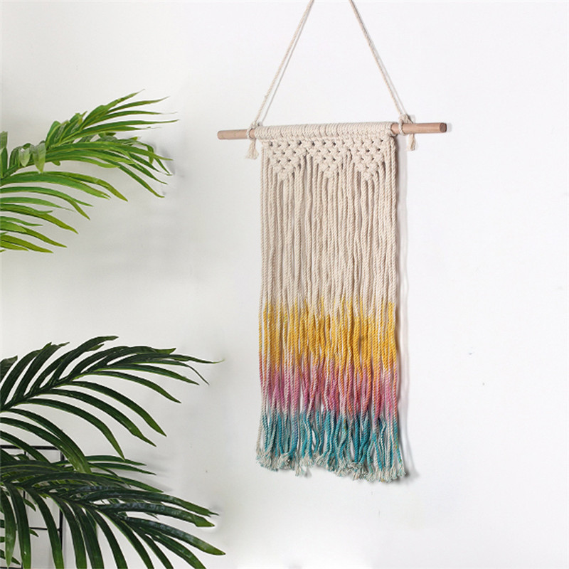 Rainbow Colorful Macrame Woven Wall Hanging Boho Chic Bohemian Home Geometric Art Decor Beautiful Apartment Dorm Room Decoration