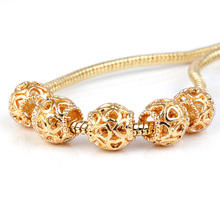 10Pcs a Lot Gold Heart Openwork Beads Fit For Pandora Charms Bracelet DIY Bead European Murano Czech Spacer Love Charm
