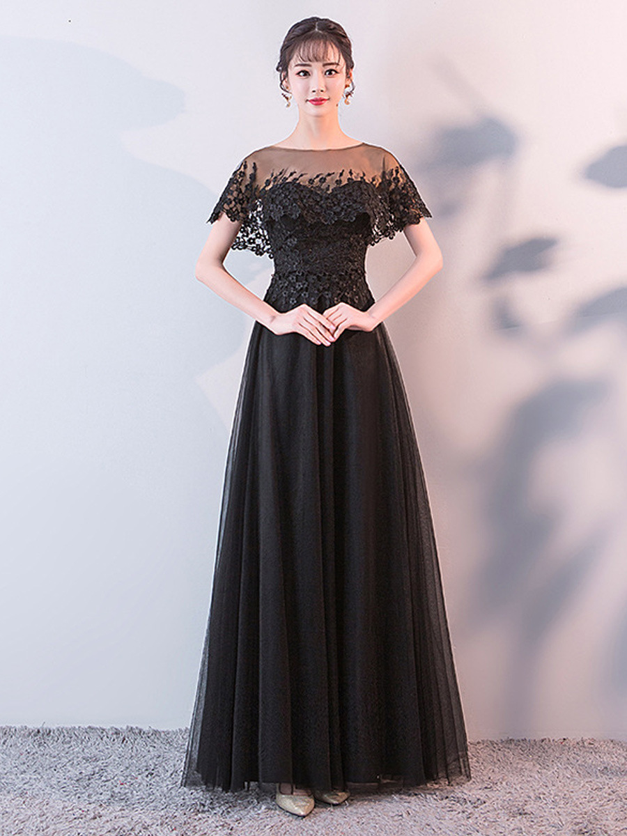 2019 New Style Piano Playing Formal Dress Women's Adult White Costume Long Black Late Formal Dress Art Exam Host