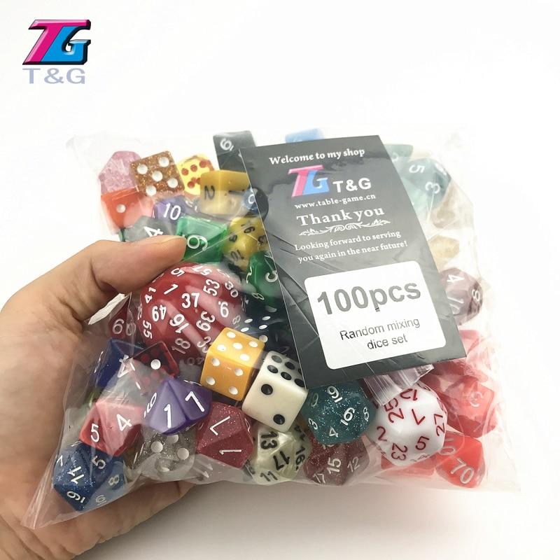 Случайные 100 шт игральные кости многогранные пластиковые забавы с креативным цветом/стиль Наслаждайтесь досугом/Праздничная Вечеринка игр...