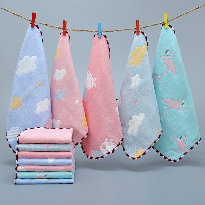 Baby Towel Muslin Squares Handkerchief Hand Bath Feeding Gauze Muslin Baby Cotton Towel Square Towels For Boys Girls Wash Cloth