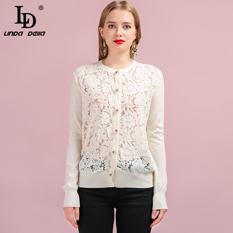LD LINDA DELLA Runway Fashion Autumn Knitting Sweaters Women's Long Sleeve Lace Splice Button Casual Lady White Wool Cardigans