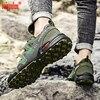Zapatos impermeables de camuflaje verde para hombre zapatillas de senderismo antideslizantes con cordones ligeros de