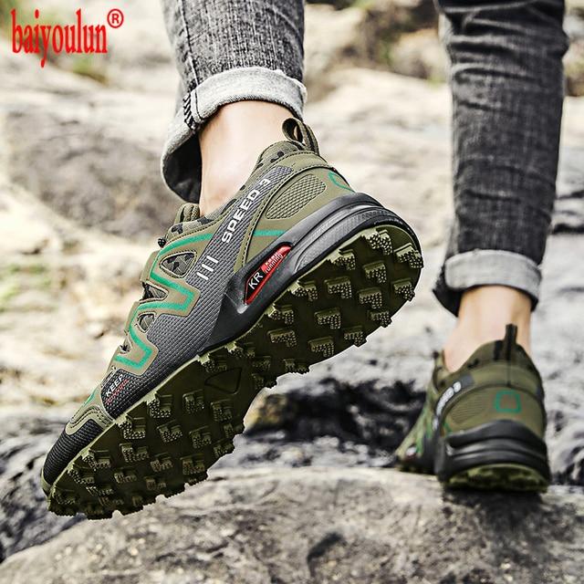 Zapatos impermeables de camuflaje verde para hombre zapatillas de senderismo antideslizantes con cordones ligeros de senderismo
