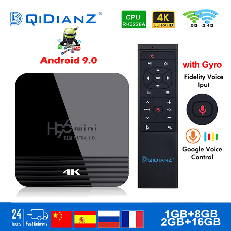 Smart TV BOX H96mini H8 RK3328A Android 9.0 TV Box 2GB 16GB Android Box 2.4/5.0G WiFi 4K H.256 Netflix Media Player Set Top Box