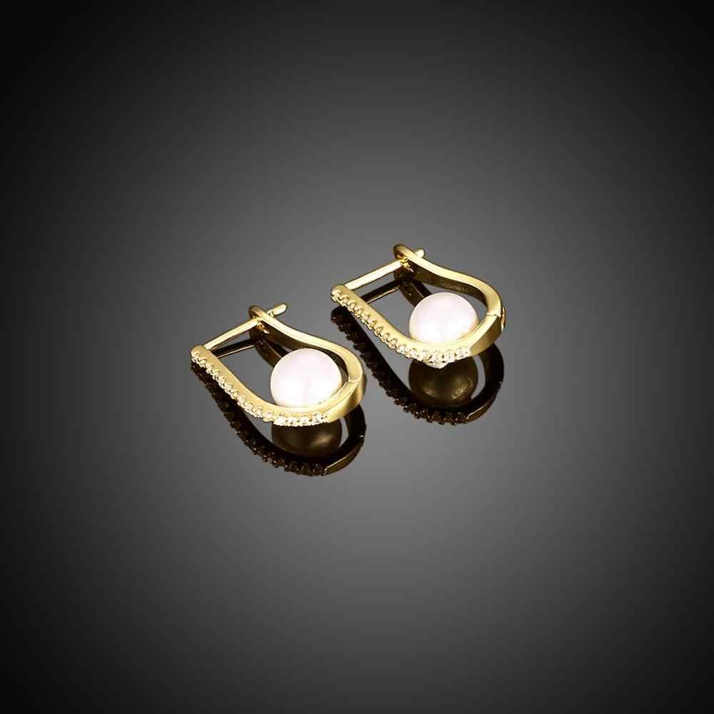 Design Elegante di Colore Dell'oro Simulato Della Perla Aaa Cz Wedding Orecchini a Cerchio per Le Donne Dei Monili di Modo Orecchini Regalo Accessori