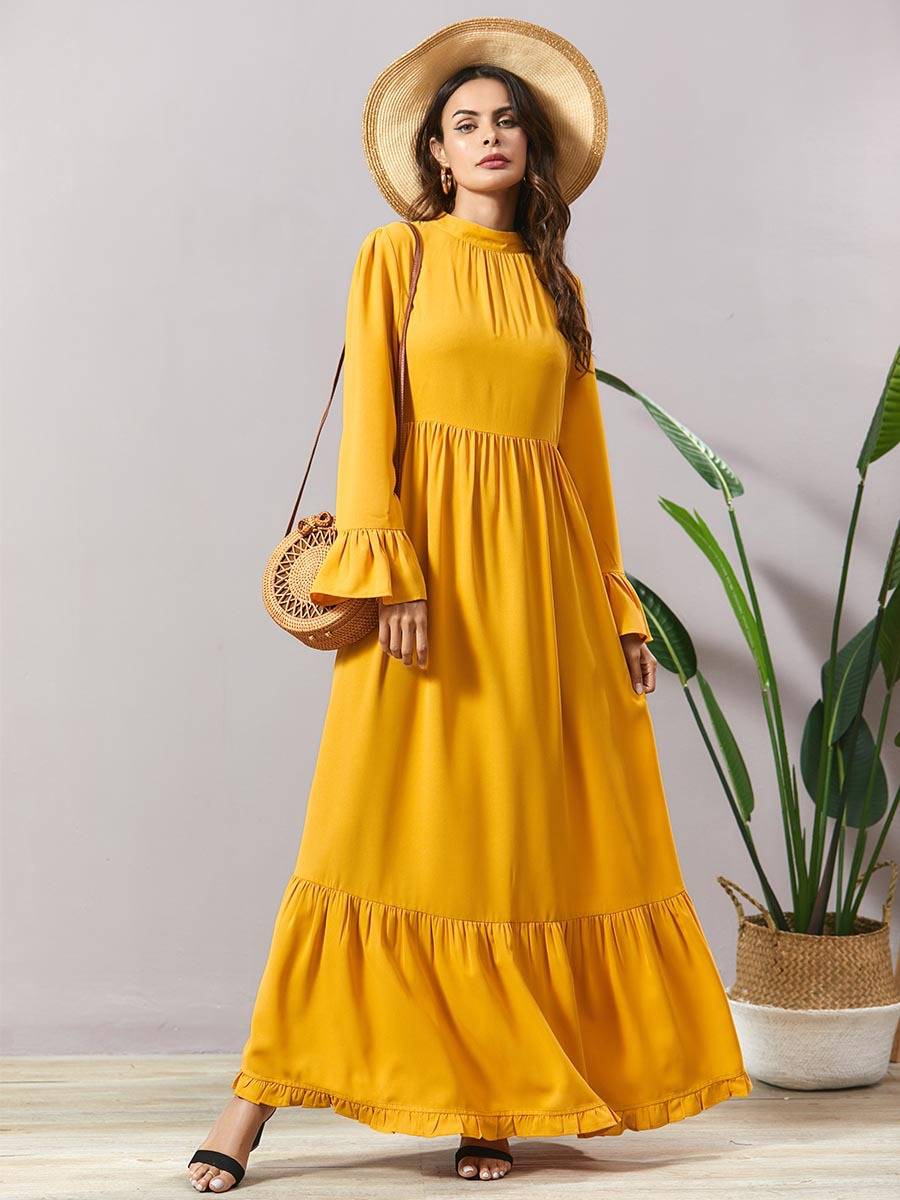 Women Summer Lotus Leaf Bohemia Beach Long Dress Muslim Abaya Dress Caftan Kaftan Arabic Turkey Abaya Dubai Hijab Dress