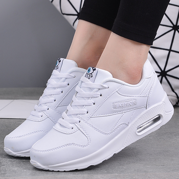 Women Trainers Running Shoes PU Leather White Fashion Sneakers 2020 Sneakers Ladies Outdoor Sport Shoes Breathable Air Cushion
