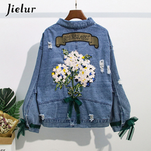 Jielur Women Jacket Hipster Pockets Denim Coat  2019 Autumn Turn-down Collar Blue Jean Coats Embroidery Button Female