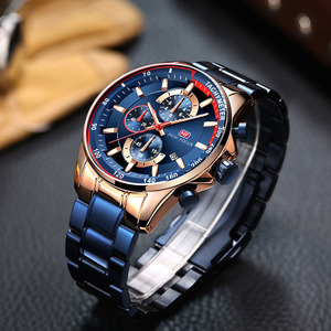Image 4 - ミニフォーカスファッションブルー腕時計メンズクォーツ時計スポーツメンズ腕時計トップブランドの高級ビジネス全鋼のストラップレロジオmasculino
