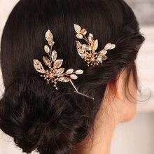 Headwear Jewelry Hair-Accessories Flower Birde Wedding Vintage Gold To Be Women 2PCS
