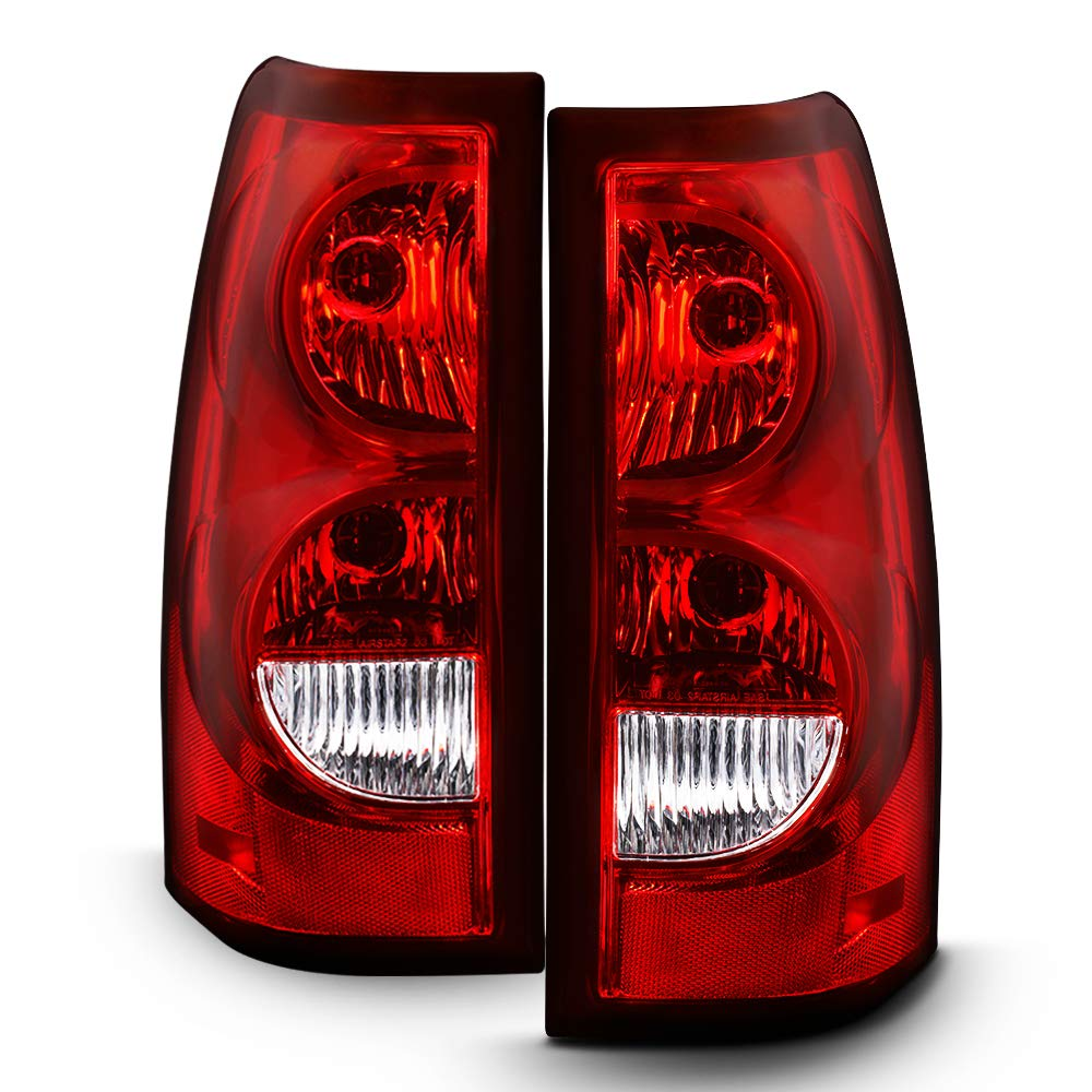 Sulinso For 2003-2006 Chevy Silverado 1500 2500 3500 Factory Style Tail Lights Rear Brake Lamps w/Harness & Bulb Pair