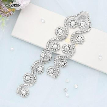 TOPQUEEN S161 Many Style Handmade Wedding Crystal Rhinestone Applique Luxury Bridal Beaded Trim Iron on for Wedding Dress luxury clear leaf design rhinestones beaded trim bridal wedding garter sets with white ribbon bow handmade
