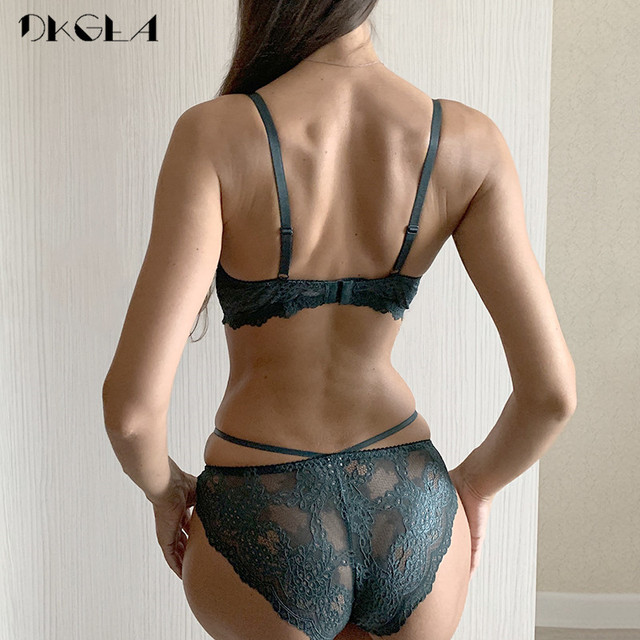 New Green Underwear Set Women Bra Push Up Brassiere Cotton Thick Black Gather Sexy Bra Panties Sets Embroidery Lace Lingerie Set 2