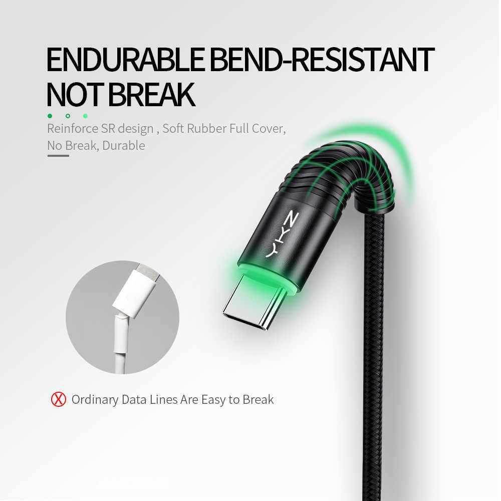 Ykz led 3a usb tipo c cabo de fio de carga rápida tipo-c para samsung galaxy xiaomi huawei telefone móvel usb c USB-C cabo de carregador