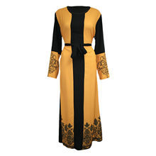 Dubai Islam Muslim Hijab Dress Women Print Patchwork Lace-up Abaya Dres