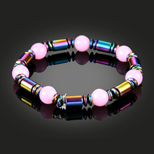 NJ Cute Pink Natural Stone Magnet Beaded Bracelet New Fashion Couple Bangle Male Chic Accessories Jewelry For Friend Gift